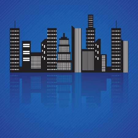 Abstract City skyline at night, Vector illustration Stock Vector - 17349163