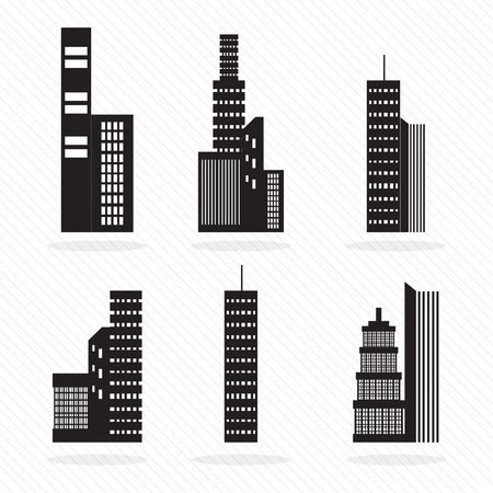 Set of vector buildings silhouette. On white background. Stock Vector - 17349126