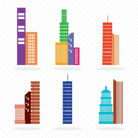 Colorful Set of vector buildings silhouette. On white background. Stock Vector - 17349127