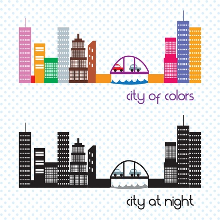 City of colors and city at night. Vector illustration Stock Vector - 17349160