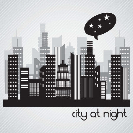 City at night landscape. On grey background Stock Vector - 17349132
