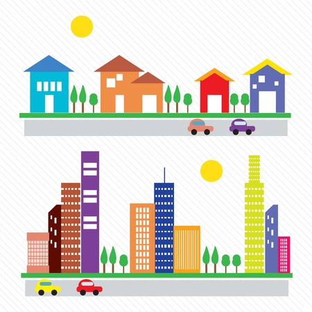 Colorful houses and buildings. On white background Stock Vector - 17349123