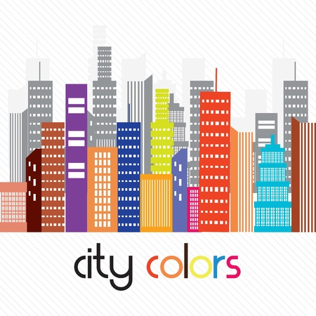 Beautiful colorful city, On white background. Vector illustration Stock Vector - 17349129