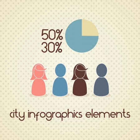 Pople for city infographics. on vintage background Vector