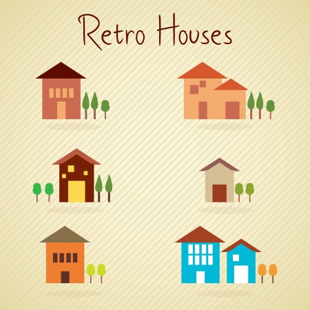 Set of retro colors houses, on vintage background Vector