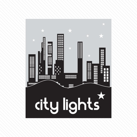 city lights: City lights concept, at night with stars. On white background