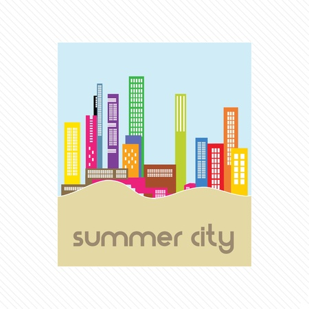 Summer city landscape label, on white background Stock Vector - 17350564