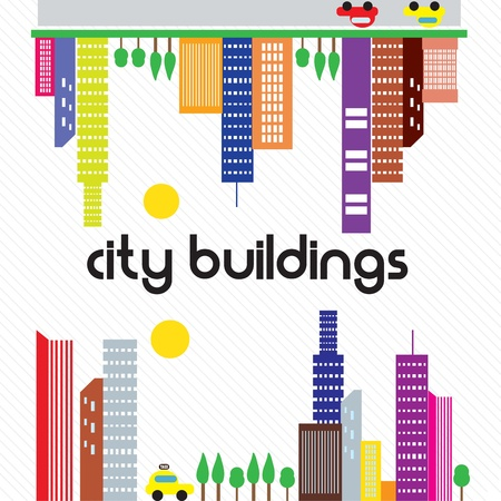City buildings in differents colors, on white background Stock Vector - 17350587