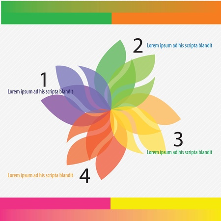 Colorful numbers Brochure with flower numbers steps. vector illustration Stock Vector - 17350697