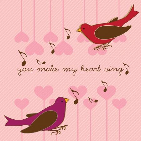 handwriting: Beautiful birds you make make heart sing. Vector Illustration.