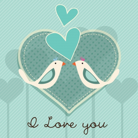 Birds couple card, I love you on blue background. Vector Illustration. Ilustração