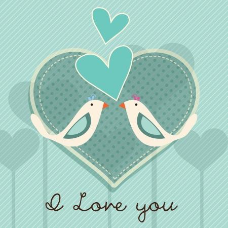 retro font: Coppia Uccelli carta, ti amo su sfondo blu. Illustrazione Vettoriale.