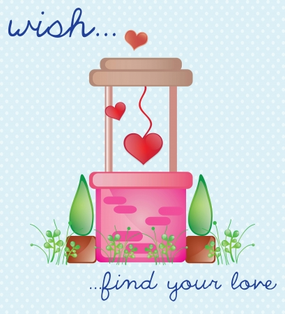 wishing: Pink Wishing Well, find love. Vector Illustration