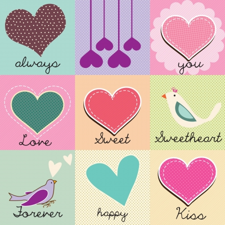 colorfull: Beautiful set of hearts and love messages, colorfull checkered background