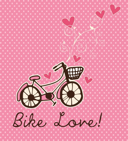 Cycling, love and hearts on pink background. Vector Illustration Vector