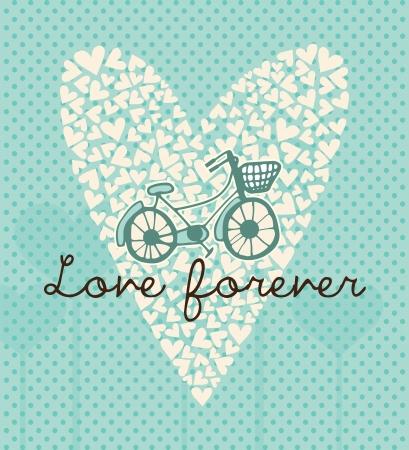 bike vector: Amor para siempre tarjeta con peque�os corazones y bici, ilustraci�n vectorial.