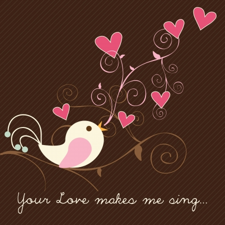 Singing bird with hearts on brown background. Vector Illutration. Vector