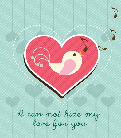 Beautiful bird singing on a pink heart. Blue background. Vector