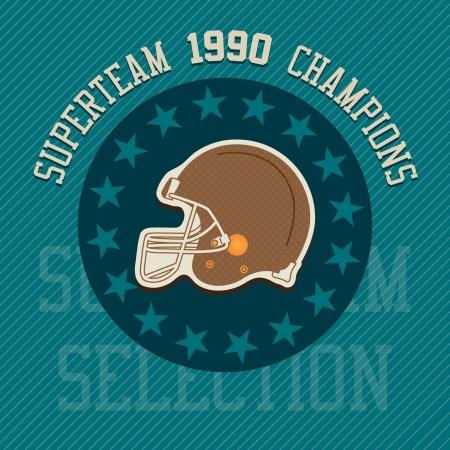 Superteam champions illustration label, with retro colors. Stock Vector - 17350708