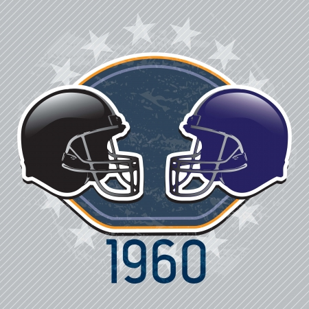 football helmet: American Football team helmet 1960 on grey background. Vector Illustration