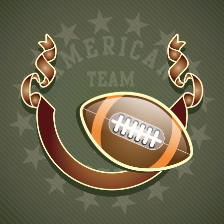 rugged: Retro football ball with flag on olive green background Illustration