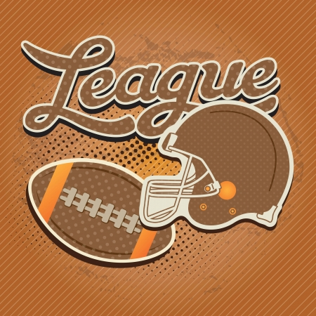 American football elements with retro colors, on vintage background Vector