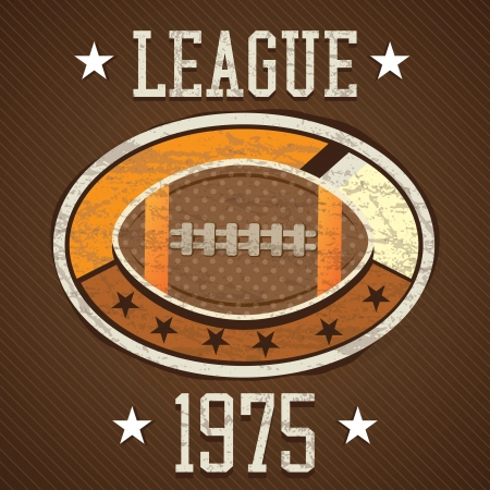 American Football retro label 1975 league, on brown background Vector