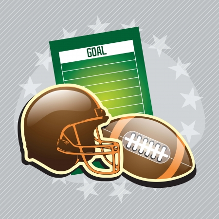 sports helmet: football field and others elements, on grey background