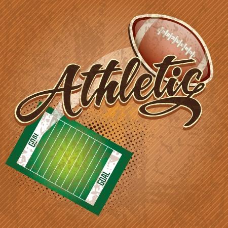 american football stadium: American  football field, athletic team. on retro background