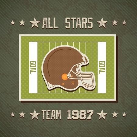 grunge football: American football all stars team on field with helmet. Vector background