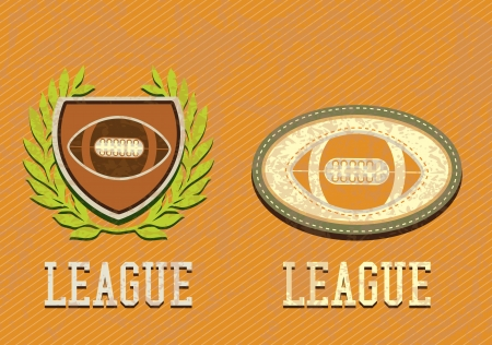 sports activities: American football retro labels, on vintage background. Grunge style Illustration