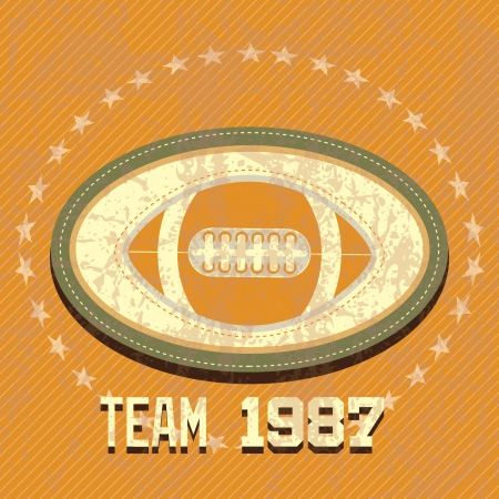 American Football retro label, 1987 team. Vector illustration Vector
