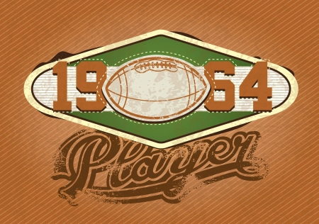 rugged: American football Player insignia, 1964 retro colors. Vector Illustration Illustration
