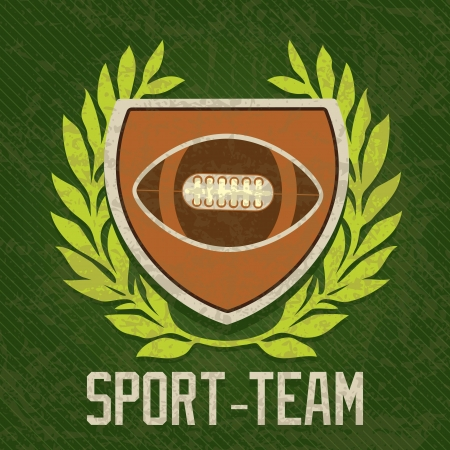 Sport Team shield of american football, on olive green background Vector