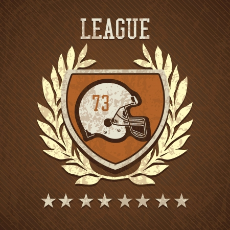 grunge football: League Shield of american football, on  brown background