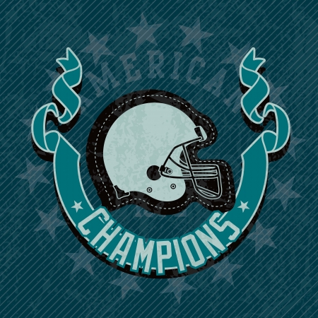 American Football Helmet champions league, on blue background Stock Vector - 17351137