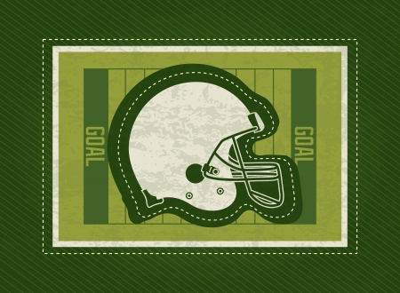 American Football helmet, on field, green background Vector
