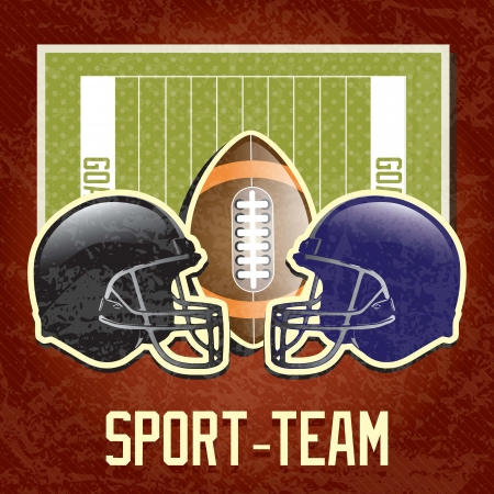 rugged:  American Football elements, on field Grunge background Illustration