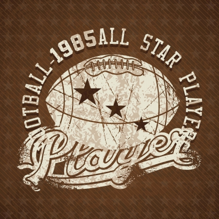 Football 1985 all stars player vintage insignia. Vector illustration Vector