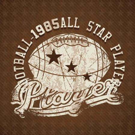 rugged: Football 1985 all stars player vintage insignia. Vector illustration
