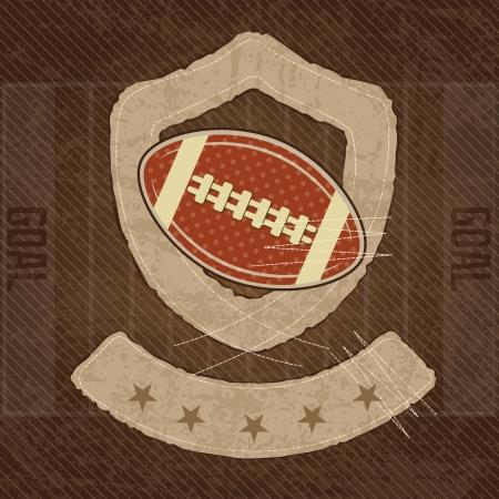 rugged: American Football shield, on vintage background, vector illustration Illustration