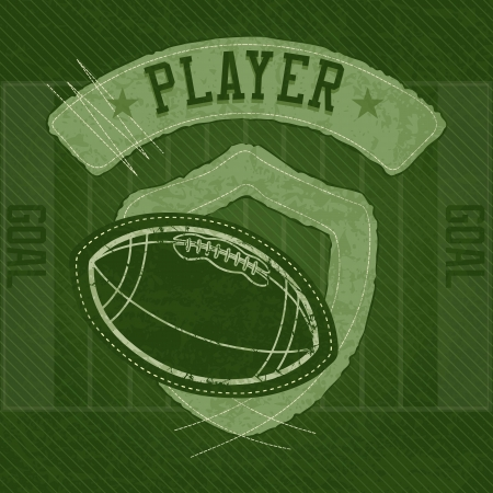 american football stadium:  American Football shield concept, on green background and field.Vector Illustration