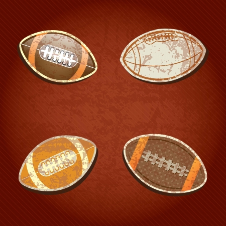 American Football set, on grunge background with retro colors Vector