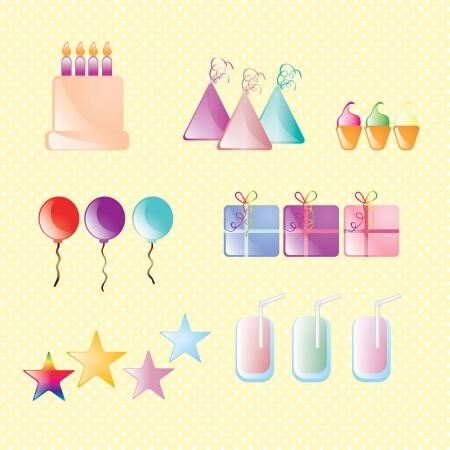 Birthday icons set Sweet collection. Vector illustration Stock Vector - 17351066