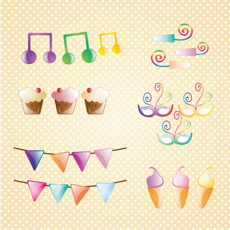 Birthday icons set Sweet collection. Vector illustration Vector