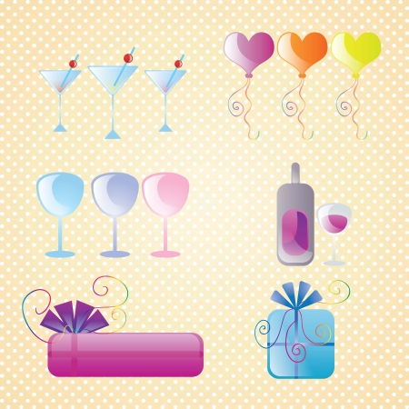 birthday icons set sweet colors, on vintage background. Stock Vector - 17351056