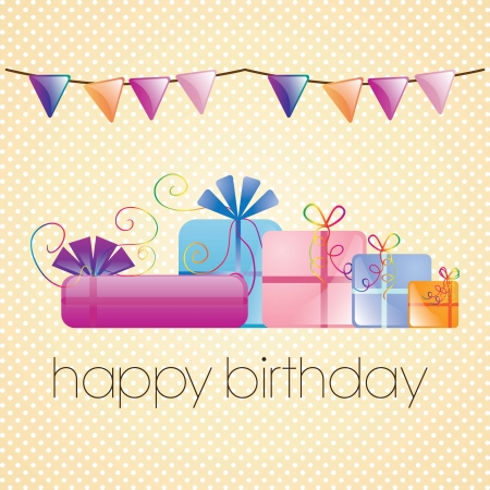 Happy Birthday Card With Beautiful Presents On Vintage Background Stock Vector