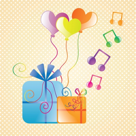 Celebrate card, with balloons, and musical notes. vector illustration Stock Vector - 17350826
