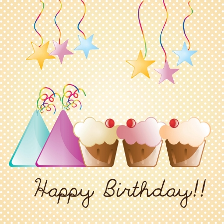 Happy birthday time for celebrate, hats and cupcakes. vector, illustration Stock Vector - 17351125