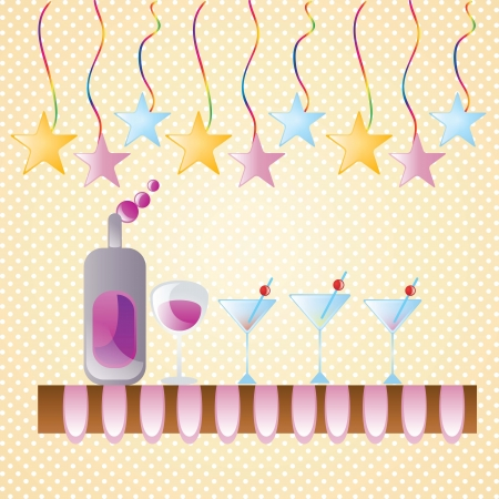cocktail table with wine and stars. Vector illustration Stock Vector - 17351062